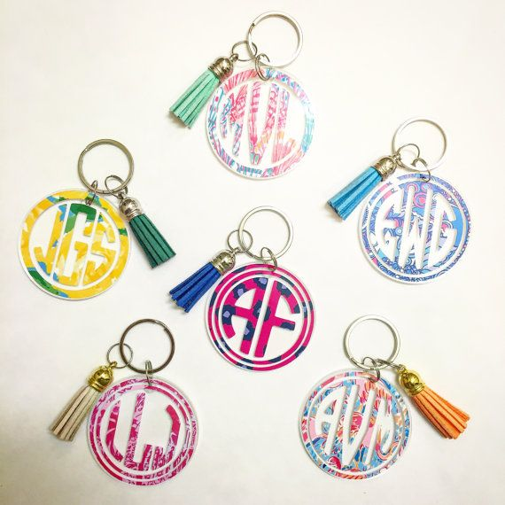 Lilly Pulitzer Inspired Monogram Keychain with by MagicalMonograms