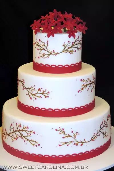 bolo de noiva com galhos