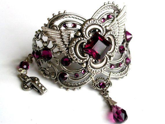 Amethyst Swarovski Bracelet Cuff Silver Women Wrist Bracelet Vintage Style…