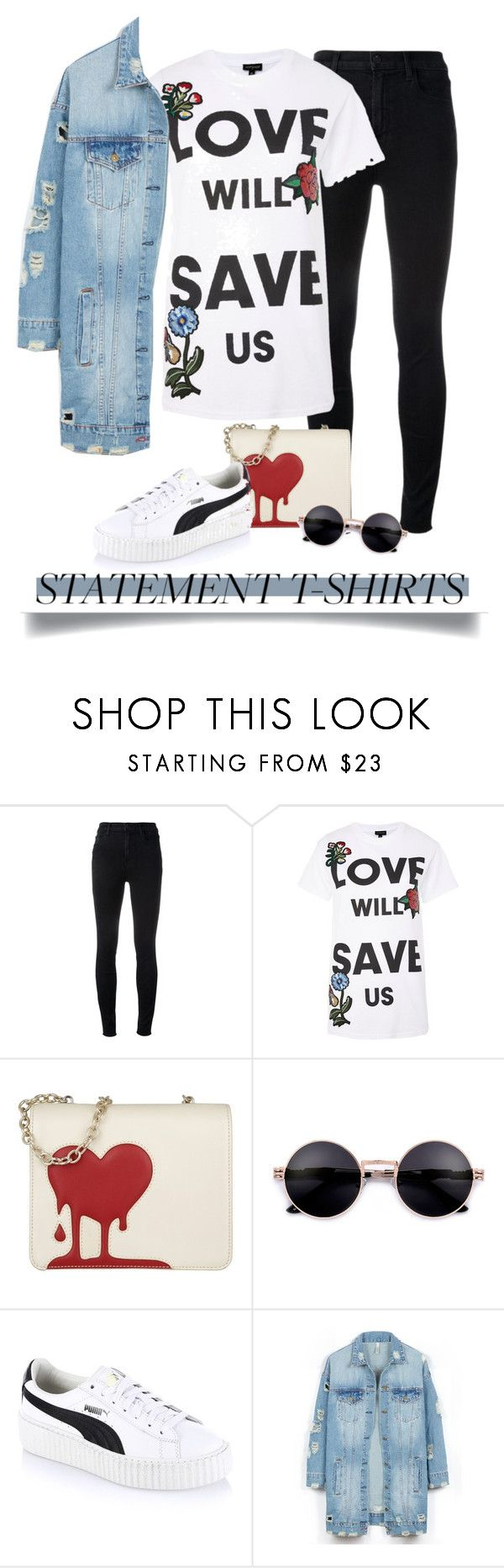 """""""Love"""" by cdshep ❤ liked on Polyvore featuring J Brand, Topshop, Love Moschino, Puma and LE3NO"""
