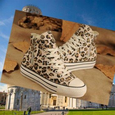 Donne Converse All Star Ragazze piattaperma Leopard Print Zipper Beige Chuck Taylor Canvas Sneakers Sneaker alte