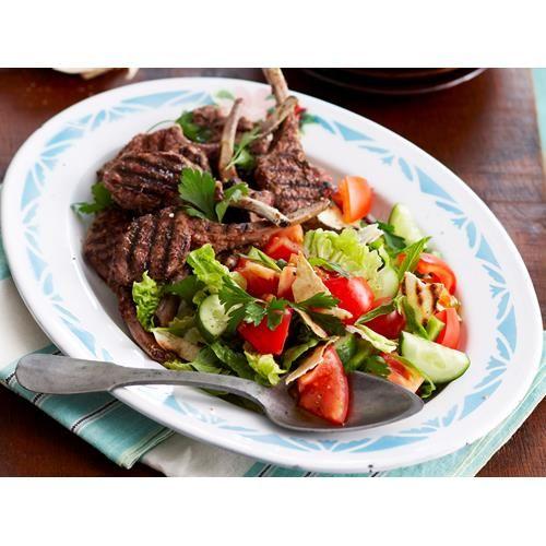 Lamb cutlets with fattoush recipe.