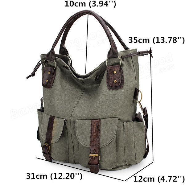 Women Casual Canvas Drawstring Handbags Multi Pocket Shoulder Bags Crossbody Ba - US$27.99