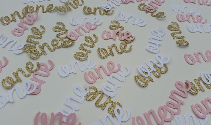 Age one confetti. Gold glitter, white and pink age one table confetti, invite fillers, cake toppers. by Garlandsandgifts on Etsy