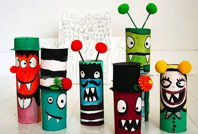 Page 9 - 15 Halloween Crafts and Activities for Kids I Kids' Halloween Crafts - ParentMap: Toilets Paper Tube, Crafts Ideas, Toilets Paper Rolls, For Kids, Halloween Crafts, Kids Crafts, Monsters, Cardboard Tube, Toilet Paper