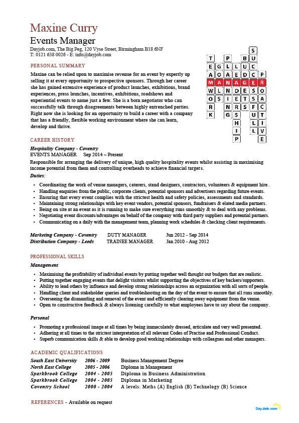 events manager CV sample, proactively selling the venue to prospective new clients, CV writing