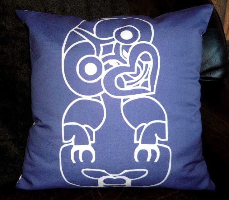 NZ Tiki (blue) cushion cover