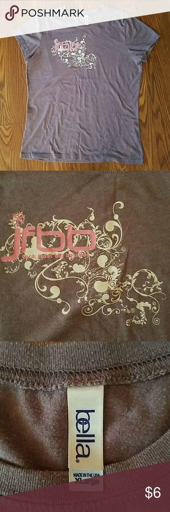 Ladies top Bella T shirt, ladies, light purple color, size xl, JFBB logo,  (Jack frost, Big Boulder ski area in Pocono mt). Made in the USA! Cotton polyester fabric. Bella Tops Tees - Short Sleeve