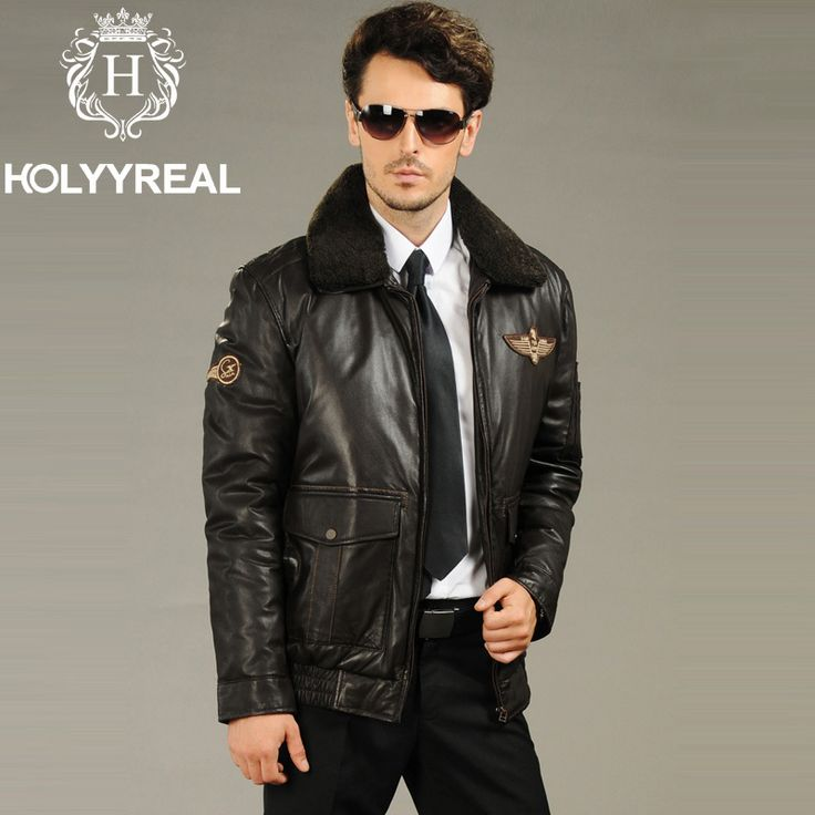 2013 Men's Genuine Sheepskin Leather Pilot Jacket With Lambswool Fur Collar Black