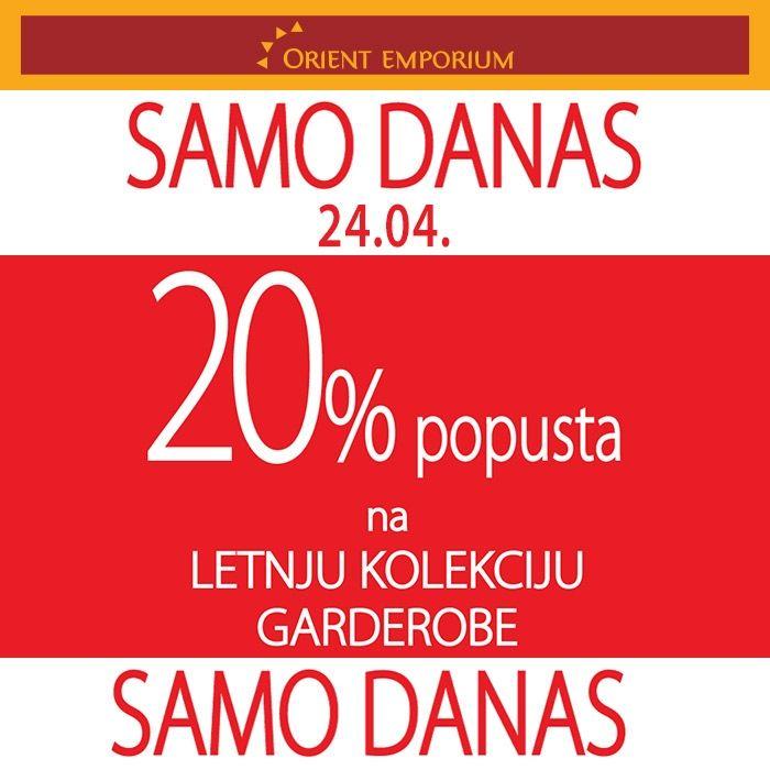 GARDEROBA leto 2015 SAMO DANAS 20% popusta na NOVU KOLEKCIJU GARDEROBE, u svim našim radnjama http://www.orientemporium.net/pages/kontakt-adrese/