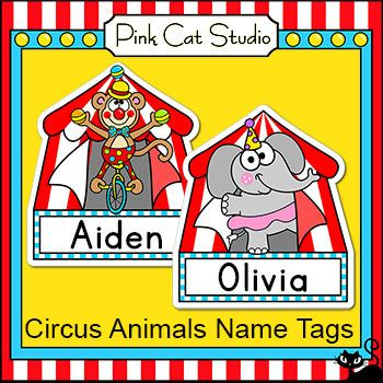 Circo Animali modificabili Nome cartellini ed etichette - Ritorno a scuola Decor
