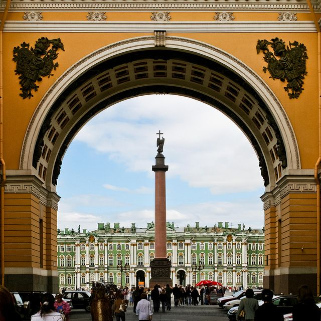Looking out onto the People's Square with The Hermitage Beyond | St. Petersburg, Russia