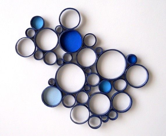 Paper Wall Sculpture - Circles, Blue, Navy, Bubbles, Round, Abstract, Decor, One of a Kind, Art, Shades, Sculpture
