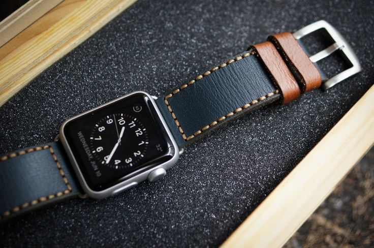 Handmade Vintage Leather Strap incl. Lugs Adapter for Apple Watch (or Apple Watch Sport) 42mm or 38mm (89.90 USD) by BlackForestAtelier