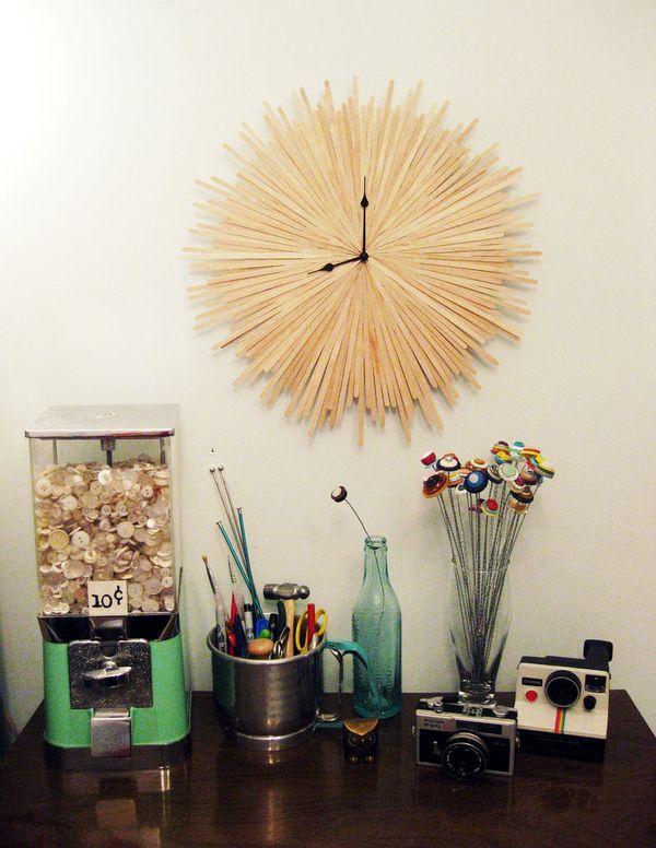 10 Unique DIY Wall Clocks: Diy Clocks, Diy'S, Clock Ideas, Diy Wall, Wall Clocks, Coffee Stirrer, Craft Ideas, Starburst Clock, Diy Projects