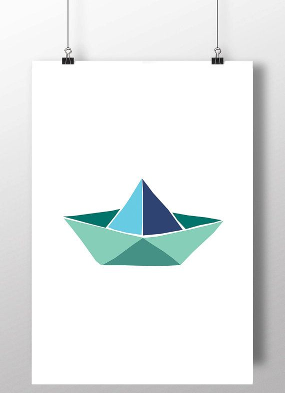 Printable art, Paper Boat art, paper boat printable, kids room decor, origami…
