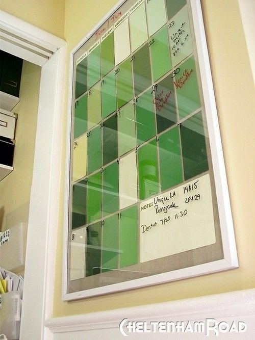 Frame paint chips or colored paper in a cheap poster frame, and use as a dry erase calendar.