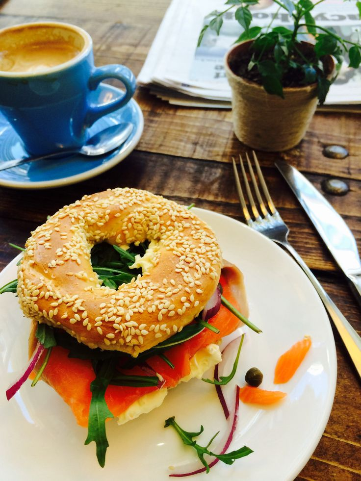 This was my Monday brunch today. A deluxe salmon bagel with a great cup of coffee. Fabulous! #BlueMondayRemedy #salmonbagel #KokakoOrganic @kaffeinenz