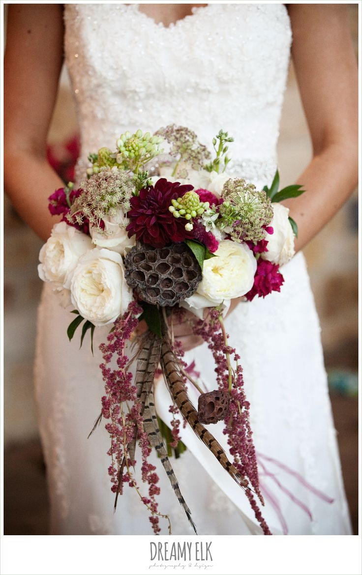 73 best white and ivory wedding flowers and inspiration images on fall wedding bouquet pheasant feathers lotus pods white ranunculus burgundy dahlia dhlflorist Images