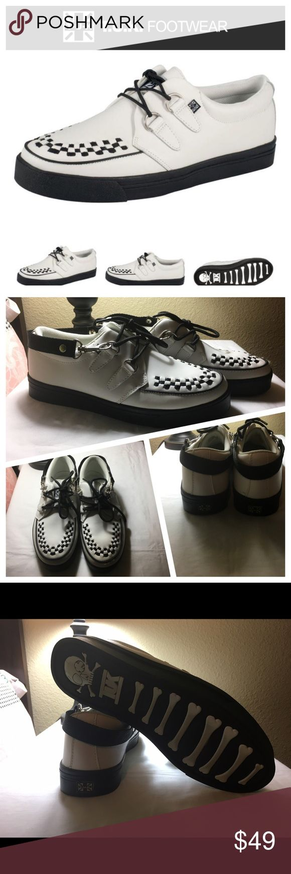 TUK black & white creeper sneaker w/strap size 7 TUK black and white 2 D ring creeper sneaker with strap in men's size 7. Shoes are gently worn and in very good used condition. T.U.K Shoes Sneakers