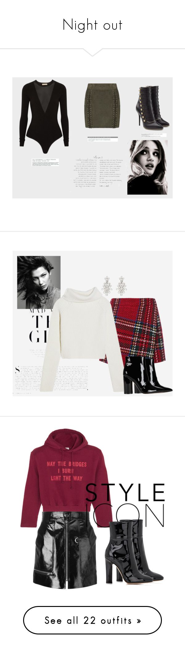 """""""Night out"""" by angelafloresv ❤ liked on Polyvore featuring Michael Kors, Boohoo, Balmain, Libertine, Barbara Bui, Kershaw, By Terry, Sigerson Morrison, Haider Ackermann and Oscar de la Renta"""