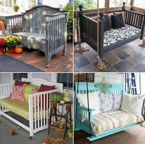Reuse the old cribs to make awesome benches or swing bed | Awesome Old Furniture Repurposing Ideas for Your Yard and Garden