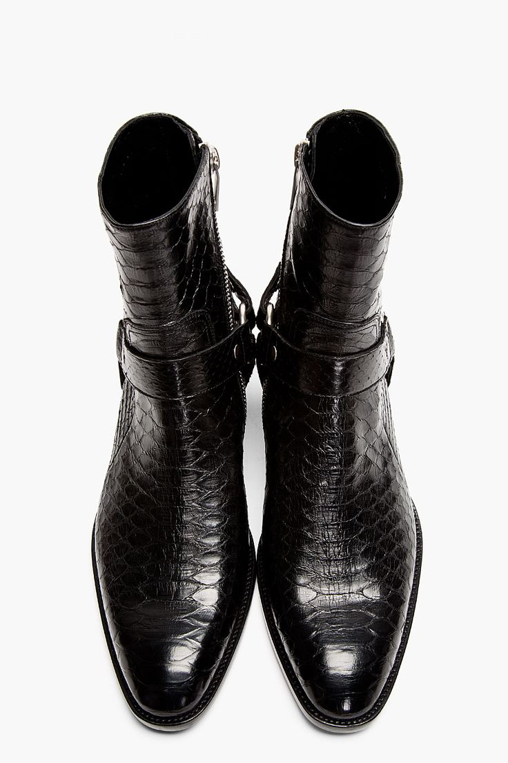 SAINT LAURENT Black Pythonskin Wyatt Harness Biker Boots
