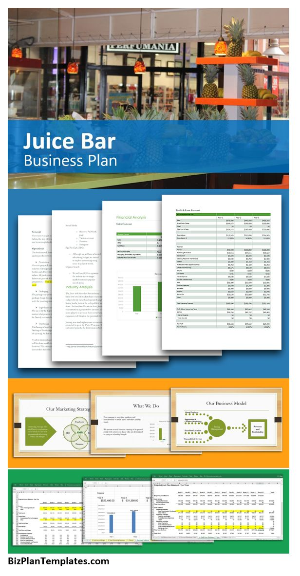 Juice Bar Business Plan. If you have wanted to start a Juice Bar, this business plan and start-up package are a great resource. A full Juice Bar business plan template and Excel financial model for starting and operating a Juice Bar. Easily calculate startup costs, projected income and expenses and more. This plan includes marketing strategies for promoting a Juice Bar and all topics necessary to get your thoughts together and make a processional presentation.