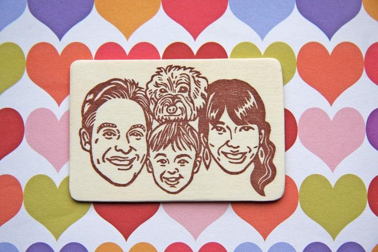 Hand Carved Custom Family Portrait Stamp -DIY Stationery, Return Address, Lavel, Christmas cards, Thank You Cards-. $130,00, via Etsy.