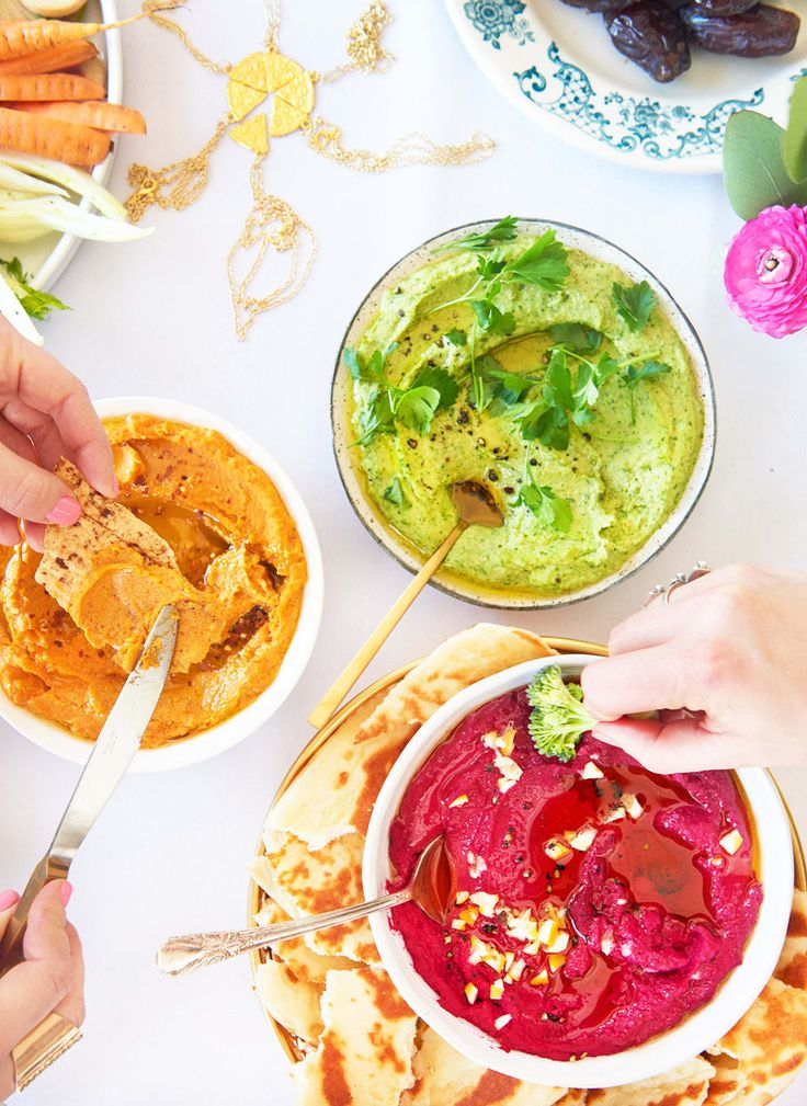 Adding roasted or steamed vegetables to chickpeas before blending will make basically the most beautiful, colorful hummus you've ever seen —not to mention one that's really, really delicious.