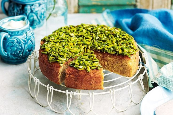 This recipe is from the lovely food writer and cooking teacher Elise Pascoe, and I've made it time and again. It's a gorgeous, simple cake – light and lemony, and so eye-catching with its pale green hue and mantle of pistachios.