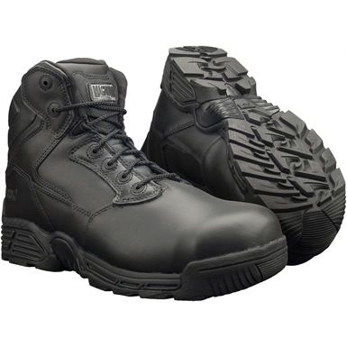 "These Magnum Stealth Force 6.0 Leather CT CP S3 Boots are Non-metallic footwear ideal for security and uniform industries. These safety boots meet safety footwear standards ISO20345 with ""airport friendly"" composite cap and midsole protection."