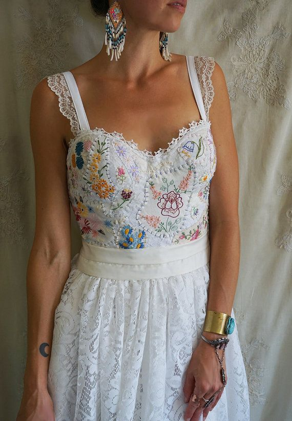 RESERVED The Original Meadow Bustier Wedding Gown or Formal Dress... boho whimsical woodland country vintage hand embroidered eco friendly