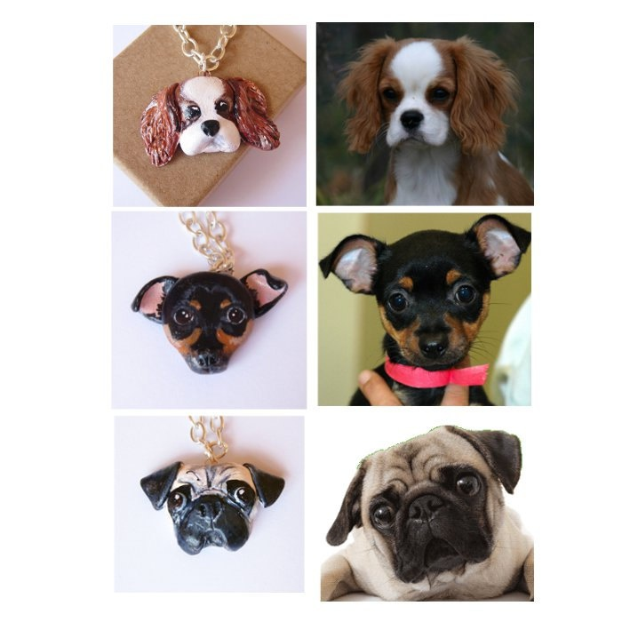 Custom Dog Necklace or brooch, Pet portrait, pet jewelry-Price for One custom necklace-. $50.00, via Etsy.