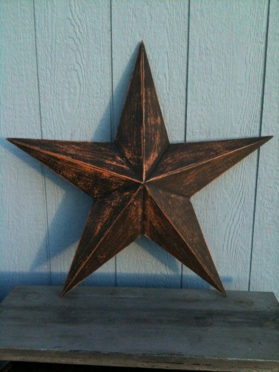 This is for a handmade wooded barn star. It measures 28 inches across from tip to tip. It is painted with and orange base and a black topcoat,