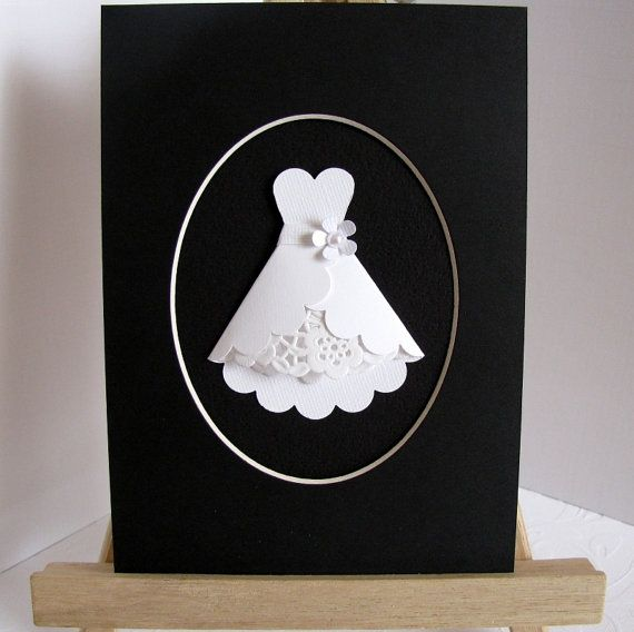 paper dress art great for bridal shower invites - good close-ups on the Etsy link. Start with a scallop circle