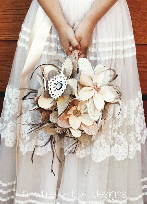 Wedding Bouquet Fabric Flowers And Feathers Ideas About Homemade On