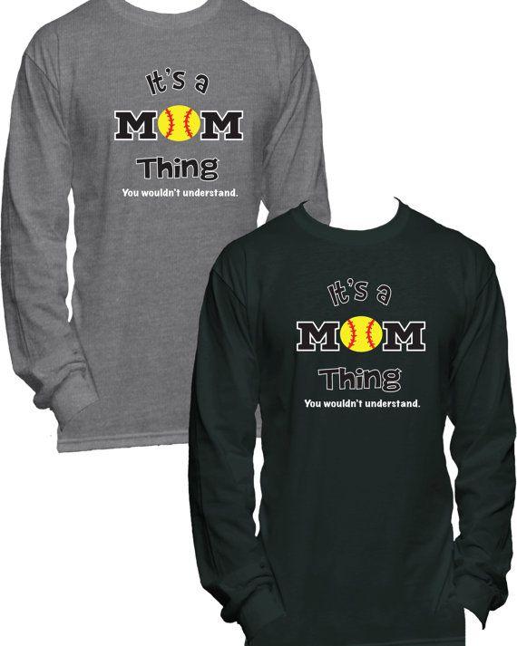 a66851e5 Softball Mom Long Sleeve T-Shirt Softball Shirt Softball   Mason jar ...