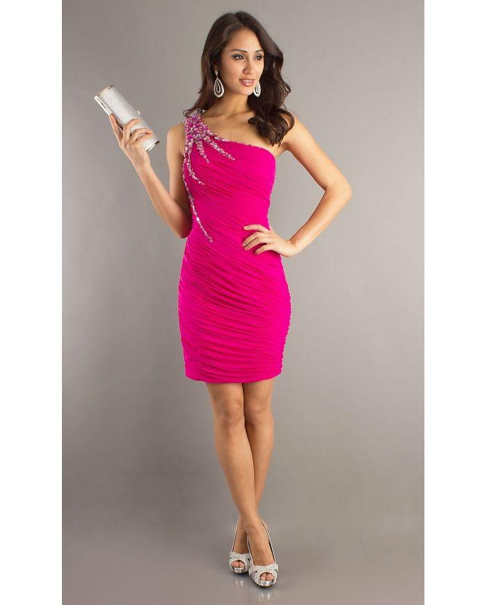 Pink One Shoulder Dress - Dress Xy