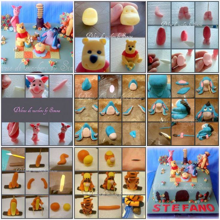 How-To Winnie the Pooh & friends Fondant toppers pictorial:http://deliziedizucchero.blogspot.it/2012/03/foto-tutorial-winnie-pooh-pimpi-hi-ho