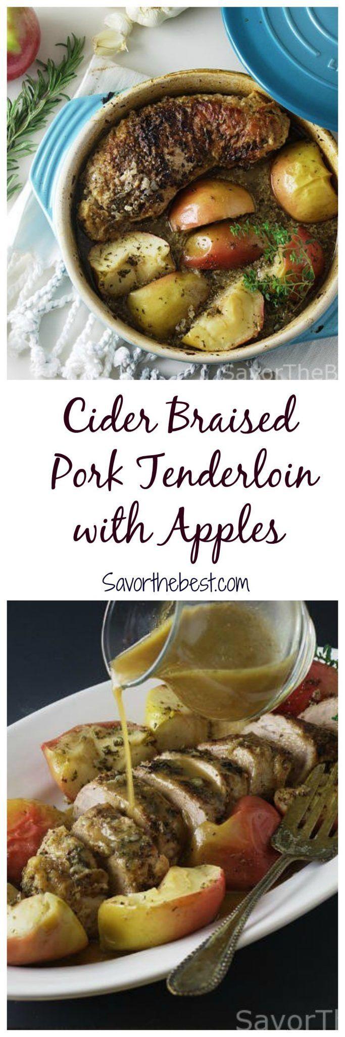 cider braised pork tenderloin with apples