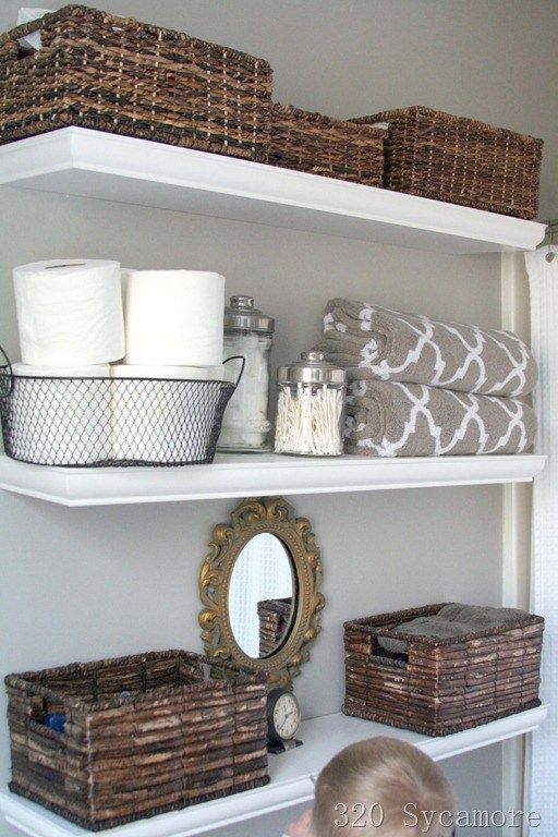 Best Basket Bathroom Storage Ideas On Pinterest Organization - Bathroom towel storage over toilet for small bathroom ideas
