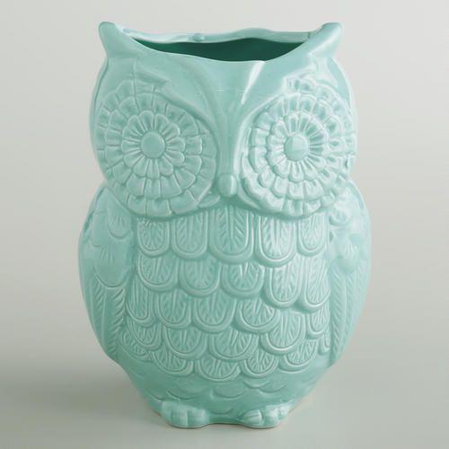 Aqua Owl Utensil Crock at Cost Plus World Market >> #WorldMarket Owl #Decor #Kitchen