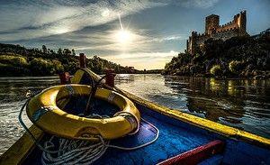 Обои Португалия Замки Реки Лодки Побережье Castle of Almourol Tagus River Города
