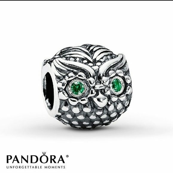 Pandora owl charm authentic Pandora charm. silver owl with green crystal eyes. in EUC but could use a nice polish/cleaning. retail $50. no trades. Pandora Jewelry