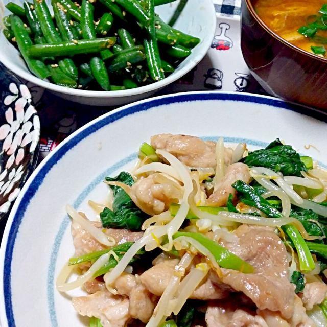 豚肉と小松菜ともやしの炒め物他・・・ - 38件のもぐもぐ - 晩御飯 by yukimaru218