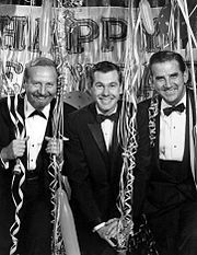 Carsons first Tonight Show New Years Eve, 1962. Also pictured are Skitch Henderson and Ed McMahon