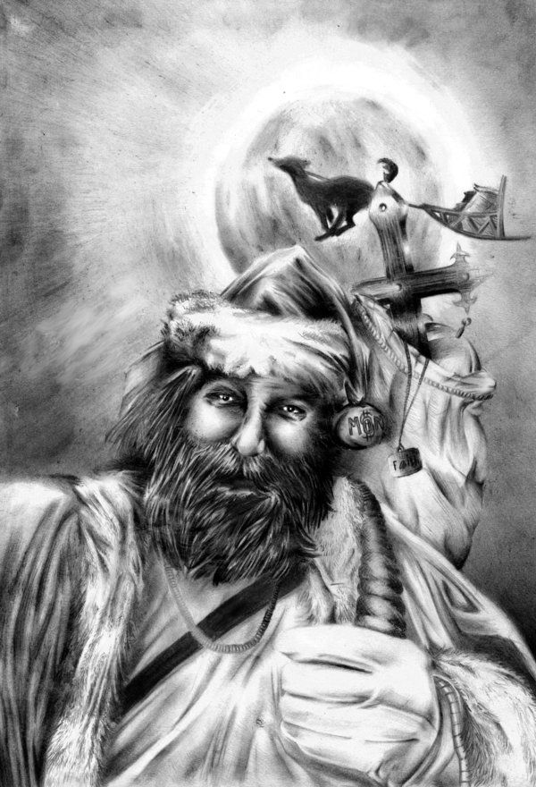Faith by YoshiDaime.deviantart.com on @deviantART      (Faith vs Money vs religion vs Xmas,  confusing world, fourth pencil drawing in my life, texture. beard study, 12 hours all in all, the passion was growing then... :D