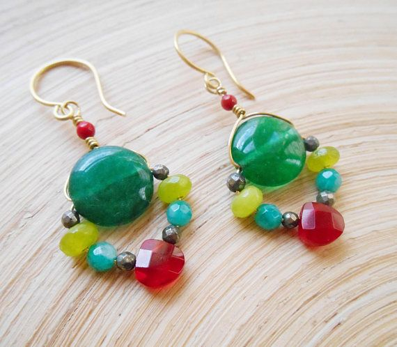 Zinnia gemstone beaded earrings green red wire wrap cluster dangle drop jade quartz amazonite pyrite coral gold fill Valentine gift for her