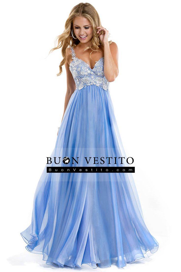 2014 Low Back cinghie una linea Chiffon Prom Vestito con corpetto di pizzo